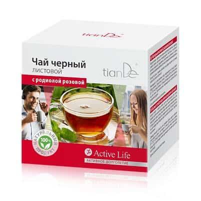 Чай черный листовой с родиолой розовой , 20 фильтр-пакетов по 2 г
