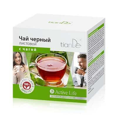 Чай черный листовой с чагой, 20 фильтр-пакетов по 2г.